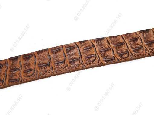 Dây nịch da bò dập vân cá sấu 100% DHM-036 | Đầu dây nịt kim nguyên khối thời trang
