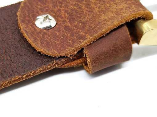 Dây nịt nam da sáp nguyên tấm DHM-038 | Đầu khóa dây nịt kim nguyên khối mạnh mẽ