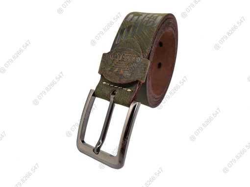 Dây nịch nam da sáp thật 100% dập chữ DHM-044 | Khóa lưng kim nguyên khối thời trang