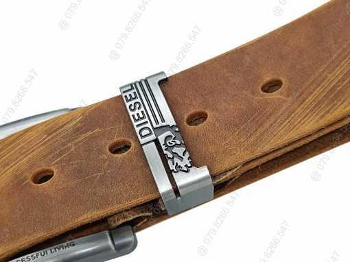Dây nịch da sáp 100% dập chữ DHM-047 | Mặt khóa kim nguyên khối thời trang
