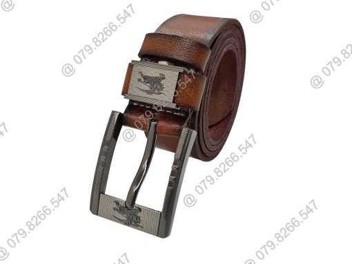 Dây lưng nam da bò thật DHM-050 | Mặt lưng khóa kim nguyên khối mạnh mẽ