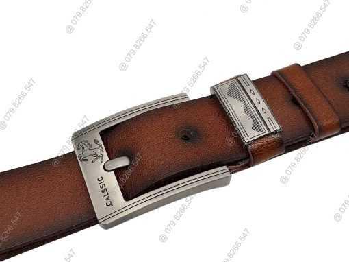 Dây nịt nam da bò thật DHM-062 | Mặt thắt lưng khóa kim nguyên khối thời trang