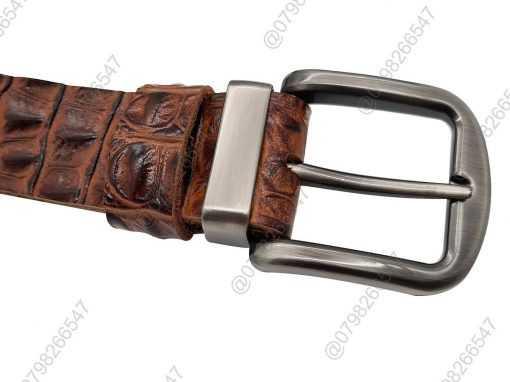 Dây lưng da bò dập vân cá sấu thật nguyên tấm DHM-119 | Khóa lưng kim nguyên khối nam tính