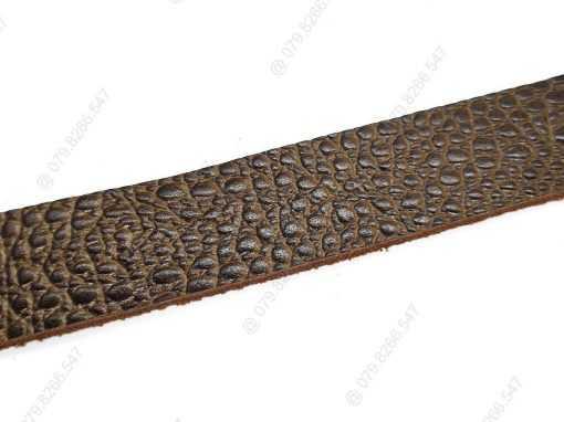 Dây nịt da bò dập vân cá sấu DHM-134 | Khóa lưng kim nguyên khối nam tính