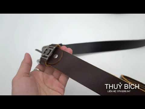 Dây nịch nam da bò 100% DHM-109   Đầu khóa nịt kim nguyên khối sang trọng