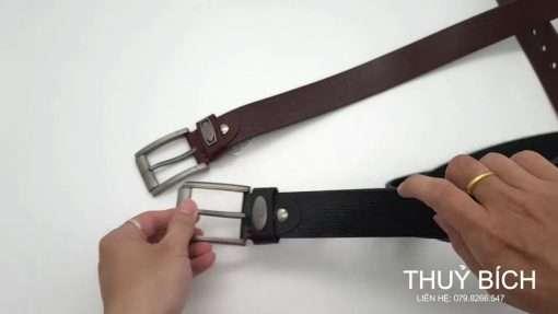 Dây lưng da thật 100% DHM-089   Mặt thắt lưng khóa kim nguyên khối nam tính