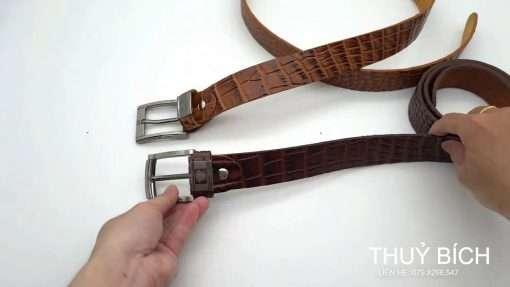 Thắt lưng da dập vân cá sấu thật 100% DHM-096 | Mặt dây lưng khóa kim nguyên khối thời trang