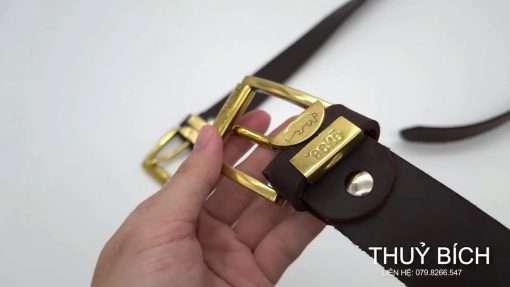 Dây nịt nam da sáp DHM-108   Mặt lưng khóa kim nguyên khối nam tính