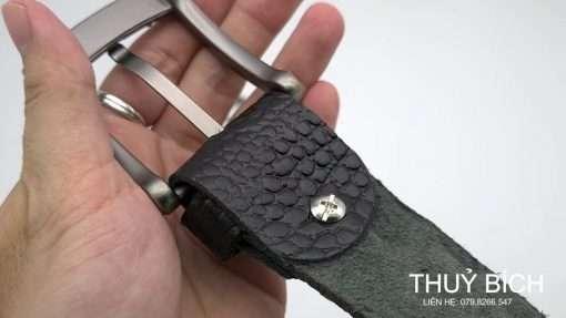 Dây nịt da bò dập vân cá sấu DHM-134   Khóa lưng kim nguyên khối nam tính