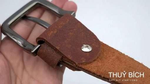 Dây nịch nam da cây trơn thật 100% DHM-139 | Đầu khóa kim nguyên khối nam tính