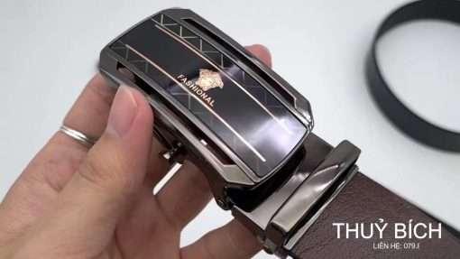 Dây lưng nam da bò trơn cao cấp DHM-142 | Đầu khóa nịt lăn nguyên khối thời trang