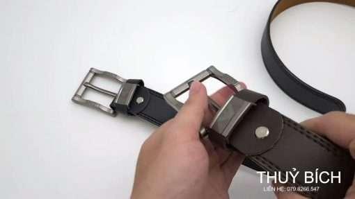Dây nịch giả da cao cấp DHM-185  Mặt thắt lưng khóa kim nguyên khối nam tính