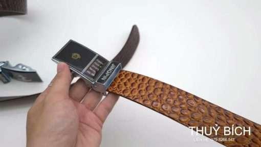 Dây lưng nam da pu dập vân cá sấu cao cấp DHM-184   Mặt thắt lưng khóa lăn  nguyên khối thời trang