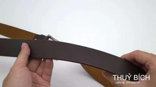 Dây nịch giả da cao cấp DHM-192 | Mặt lưng khóa kim nguyên khối nam tính