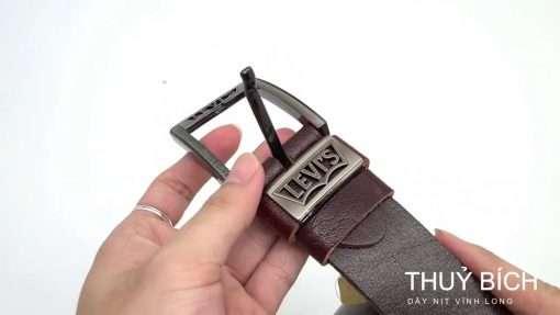 Thắt lưng da bò cao cấp DHM-061 | Mặt lưng khóa kim nguyên khối thời trang