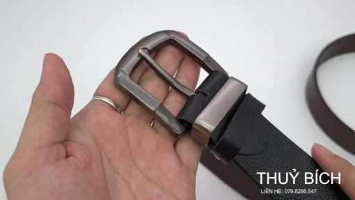 Dây nịch da bò thật nguyên tấm DHM-215   Mặt dây lưng khóa kim nguyên khối nam tính